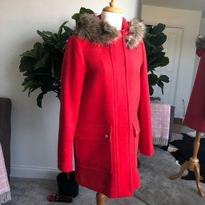 Red J. Crew wool fur-trimmed hood coat